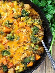 #Sponsored Chicken Skillet with Sweet Potatoes, Wild Rice, & Broccoli - a hearty, comforting one-pan meal! #SoupYourWay @progresso | http://tasteandsee.com