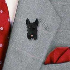 Schnauzer Black Cropped Ears Pin Button