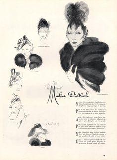 Marlène Diétrich's hats 1937 Caroline Reboux Haramboure