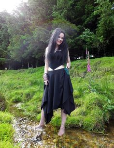 Elven Huntress Skirt - long cotton lycra witchy gypsy gothic skirt by Moonmaiden Gothic Clothing UK