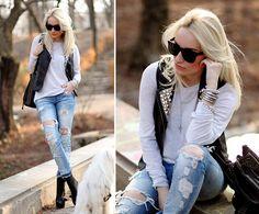 Ltb Jeans, Topshop Boots, Mango Bag, Zara Blouse, Pimkie Vest