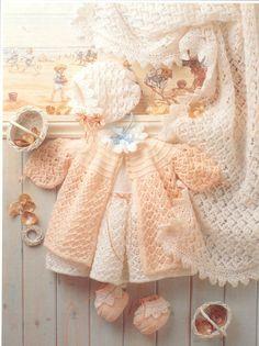 Knit Baby Dress Cardigan Bonnet Booties Shawl Vintage Knitting Pattern 14-20 inch chest Blanket sweater jumper beanie hat socks PDF Download