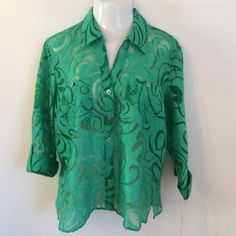 Gorgeous Green Burnout Blouse. Perfect for Spring and Summer. Style is 'Grasslands'. Material is 65% Rayon, 23% Polyester and 12% Linen w/ 3/4 Sleeves. ©rossposted
