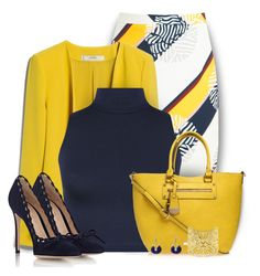 Navy & Yellow by colierollers on Polyvore featuring polyvore fashion style WearAll MANGO Raoul Gianvito Rossi Carvela Kurt Geiger Vélizance Cartier clothing