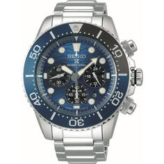Seiko Prospex Save The Ocean Diver's Solar Chronograph Watch. Special edition on the case back. Stainless Steel Bracelet, Stainless Steel Case, Bracelet Clasps, Bracelet Watch, The Ocean, Solar, Seiko Watches, Casio Watch, Chronograph