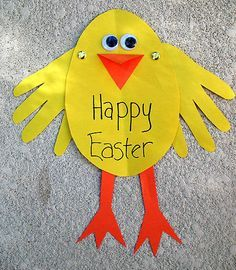 Easter Chick Card    ***Made these as an Easter Card.  They were super easy and fun to do with a 3 year old!  :)