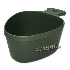 Swedish Army cup. With handle and useful mounting eye. Suitable for hot beverages as well.   - Height: 6,4 cm   - Ø: 7-9,5 cm  - Weight: 48 g.