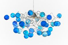 Ceiling Light with Blue transparent bubbles for by yehudalight
