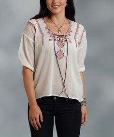 d1f17a0a4dfeb This White Embroidered Peasant Top is perfect!  zulilyfinds Peasant Tops