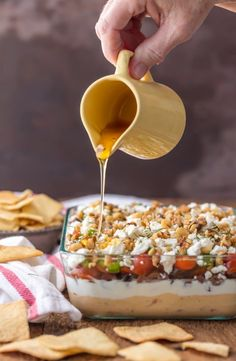 7 Layer Greek Dip Layer Dip Recipe) - The Cookie Rookie Appetizers For Kids, Cold Appetizers, Appetizer Dips, Appetizer Recipes, Party Appetizers, Greek Layer Dip, Greek Dip, Greek Yogurt, 7 Layer Dip Recipe