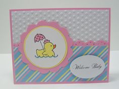 Included is one handmade, hand-stamped greeting card featuring a rubber ducky and the greeting Welcome Baby. Stampin Up and other companies