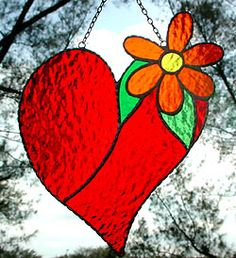 """Red Heart & Flower Stained Glass Suncatcher - 7"""" x 8 1/2"""" - $26.95  - Handcrafted Stained Glass Designs  - Handcrafted Stained Glass Designs  - Glass Suncatchers, Stained Glass Décor, Stained Glass Sun Catchers -  Stained Glass Design   * More at www.AccentOnGlass.com"""