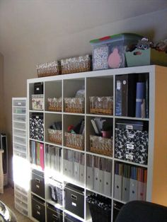 Craft Room Idea #officespace #roomdesign #craftroom #craft #room #idea #cube #storage #organization #ikea #expedit #bookcase #scrapbook #scrapbooking #stamping #sewing