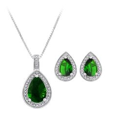 Amazon.com: Sterling Silver Simulated Emerald Earrings and Pendant Set: Jewelry