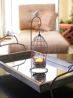Antiqued Suspended Birdcage Candle Holder | shipdirect
