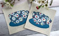 Tea Cup Drinks Coasters - Set of 2 Coasters for Cups - Blue Beverage Coasters - Decorative Coasters - Gift for Her - New Home Gift (12.00 GBP) by TheCornishCoasterCo