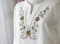 Ivory cotton blouse for women Cotton shirt Boho by soStyle on Etsy, $25.00