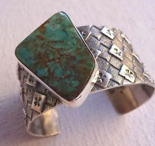 Signed NAVAJO PILOT MOUNTAIN Turquoise TUFA CAST Cuff BRACELET by Kevin Yazzie