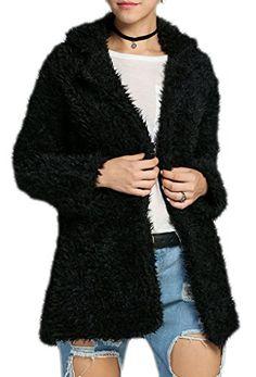 72797c62e47065 Qearl Women s Warm Lambswool Coat Lapel Long Sleeve Thicken Jacket Outwear  (L