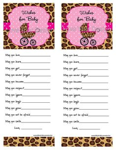 Sweet Leopard Baby Shower Wishes for Baby to be by LoveYourDesign, $5.00