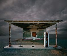 Credit: Ed Freeman <strong>Abandoned Gas Station, Niland, CA</strong><br/> 'These pictures are somewhere between photographs and paintings. They're real photographs of real buildings, but the environments have changed'