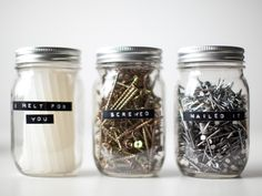 Because of the great lack of drawer space in the studio I decided to use shelves with labeled jars as storage containers. I know most of th...
