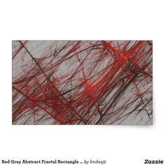 Red Gray Abstract Fractal Rectangle Sticker