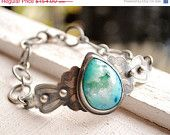BIRTHDAY SALE Turquoise and Silver Bracelet Druse Bracelet One of a Kind Unique Style Hand Forged Chain