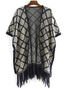 Plaid Fringe Long Poncho Sweater Bat Sleeve, Poncho Sweater, Fall Sweaters, Plaid Scarf, Kimono Top, Short Sleeves, Casual, Fabric, Color