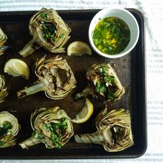 grilled artichokes with garlic parsley dip