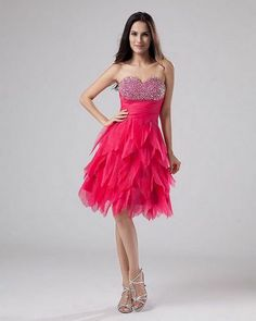 Chiffon Ruffle Layered Strapless Thigh Length Cocktail Dresses