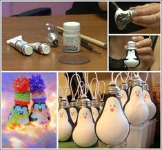 Old Bulbs Turned to Adorable Penguin Ornaments!!