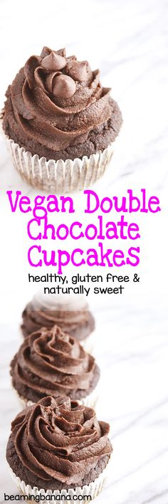 Rich, chocolate cupcakes topped with a super fudgy chocolate frosting. These vegan double chocolate cupcakes are the ultimate decadent treat, but made with just a few healthy ingredients, gluten free, and fruit sweetened!