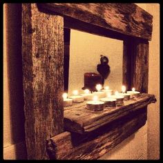 Espejos artesanales fabricado con madera reciclada! Pallet Furniture, Rustic Furniture, Mirror Over Fireplace, Driftwood Mirror, Wood Interior Design, Barn Wood, Sweet Home, Diy Crafts, Frame