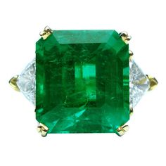 11.92 Carat Emerald and Diamond Ring | From a unique collection of vintage cocktail rings at https://www.1stdibs.com/jewelry/rings/cocktail-rings/