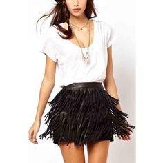 Black Pu Leather Tassels Lined Skirts ($16) ❤ liked on Polyvore featuring skirts, black, layered skirt and sexy skirt