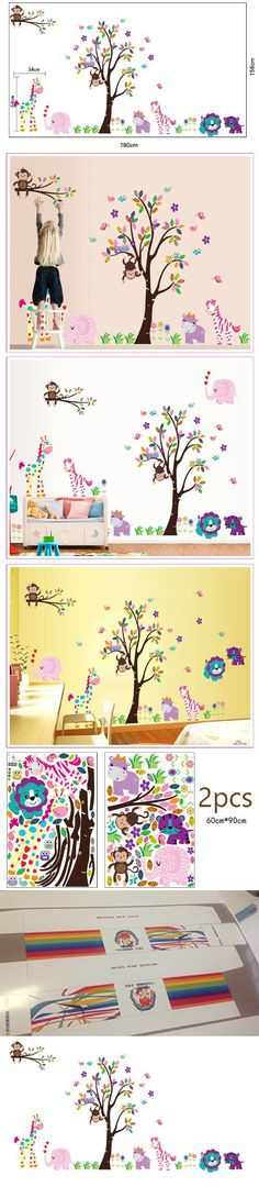 Cartoon Cute Monkeys Big Trees Removable Wall Stickers Home Decor Decals For Children's Room Nursery, Set Of 2 Sheets (lion-tree)