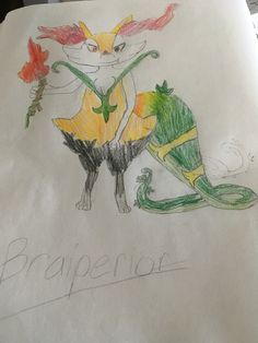 All Handdrawn Its A Fusion Of Braixen And Serperior My Two Favorite Pokmon