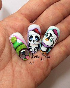 Photo Nail Art Noel, Xmas Nail Art, Xmas Nails, Winter Nail Art, Holiday Nails, Winter Nails, Christmas Nails, Red Nail Designs, Winter Nail Designs