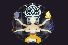 Avatar: The Last Airbender Master of the four elements (by garyp-art on tumblr)