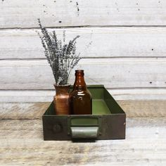 Vintage Industrial Green Bin by AuroraMills on Etsy