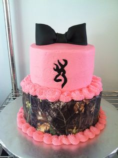 Pink and Camo Browing Cake Made By:  Cakes Your Way www.facebook.com/mccoycakes
