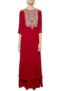 Presenting a striking red long georgette kurta set by Anita Dongre showcasing gorgeous intricate embroidery comprising of gota patti and dori embroidery with sequin work Pakistani Dresses, Indian Dresses, Indian Outfits, Indian Fashion Designers, Indian Designer Wear, Kurta Designs, Blouse Designs, Ethnic Trends, Recycled Dress