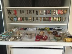 Storing jewelry etc so you can easily see and use it – cluttermonster (bracelets using IKEA pax pull out drawers and tension curtain rods)