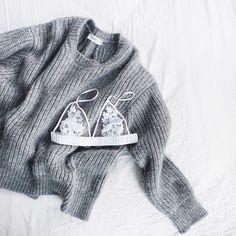 Knit sweater + white lace bra