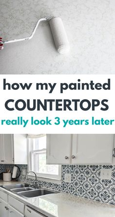 I'm sharing the good, bad, and ugly of our painted countertops after three years of heavy use in our kitchen including how they are holding up and whether I would do it again. Painting Laminate Countertops, Painted Countertops, Kitchen Ideas, Kitchen Decor, Diy Kitchen Remodel, Kitchen Organization, Kitchen Organisation, Kitchen Staging, Painted Table Tops