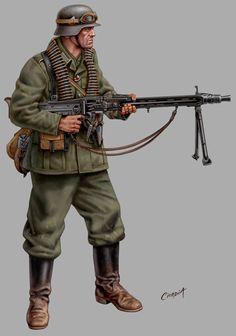 WEHRMACHT - Mitragliere con MG-42