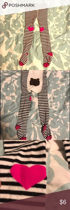 EUC GAP infant cotton tights Excellent condition! BABY GAP black and white stripes tights with hot pink hearts on knee.💕 cute bear 🐻 on bum. These are a heavy cotton. Really cute and comfortable.  There is no size tag on these but I think they fit like a 3-9 months. GAP Accessories Socks & Tights