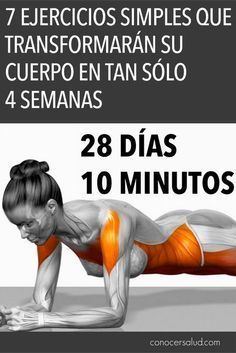 7 ejercicios simples que transformarán su cuerpo en tan sólo 4 semanas Yoga Fitness, Fitness Tips, Fitness Motivation, Health Fitness, Pilates, Gym Time, Stay Fit, Routine, Reiki