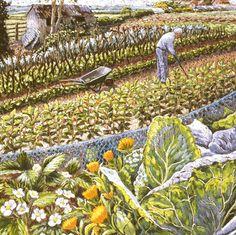 'Blooming Veg' By Cath Read. Blank Art Cards By Green Pebble. www.greenpebble.co.uk